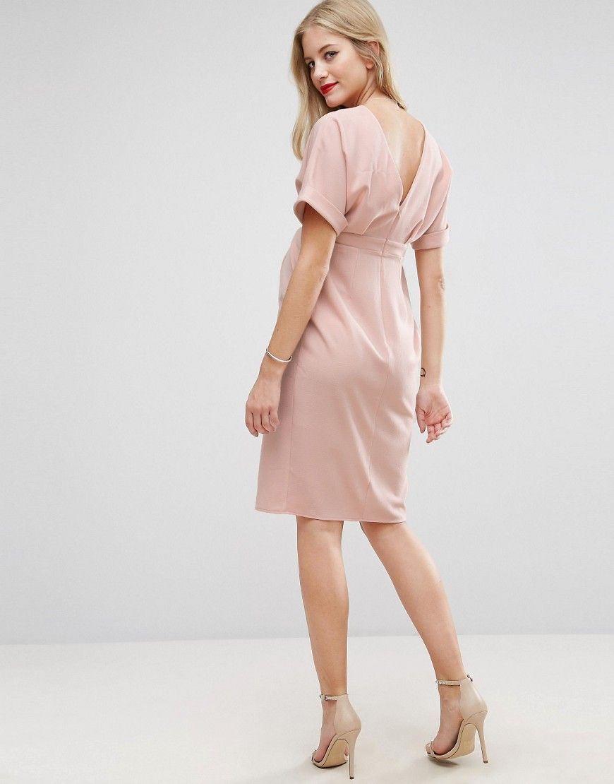 ea4b4912b07 ASOS Maternity Smart Dress with Split Front - Pink