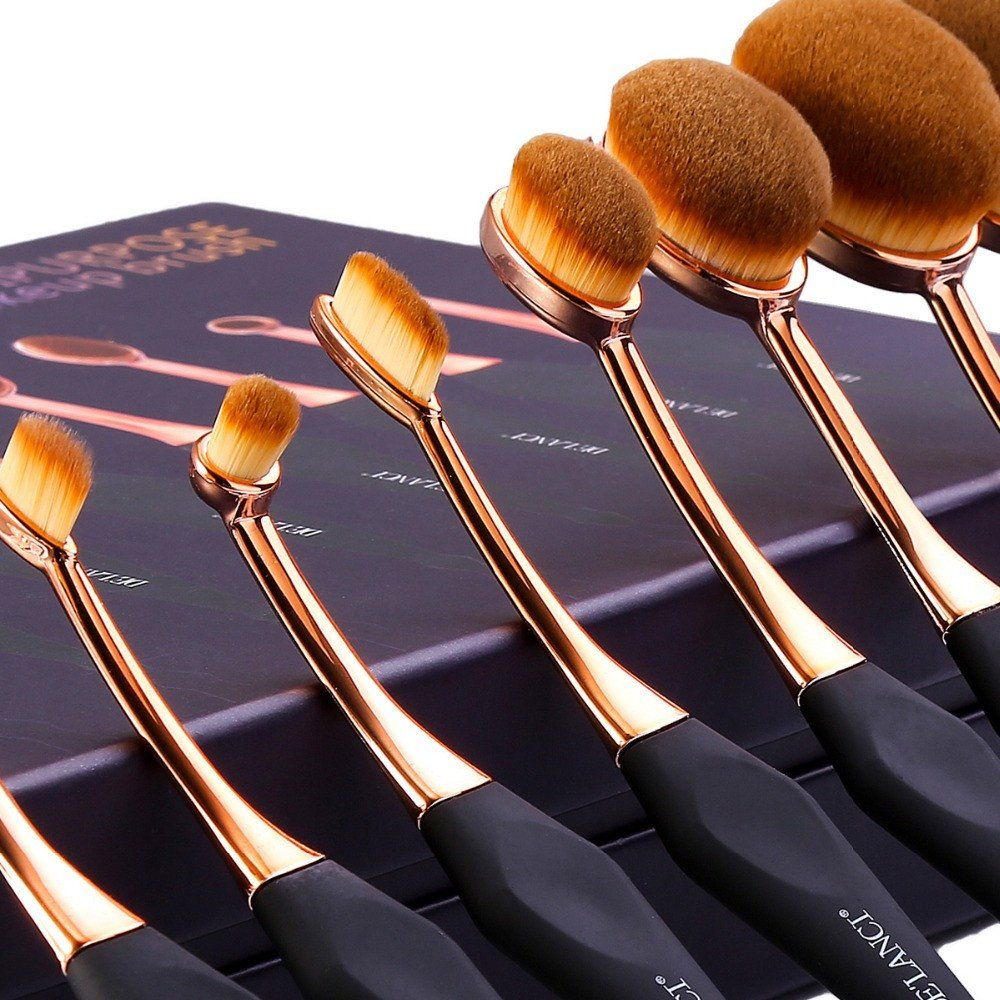Eight Piece Oval Makeup Brush Professional Foundation
