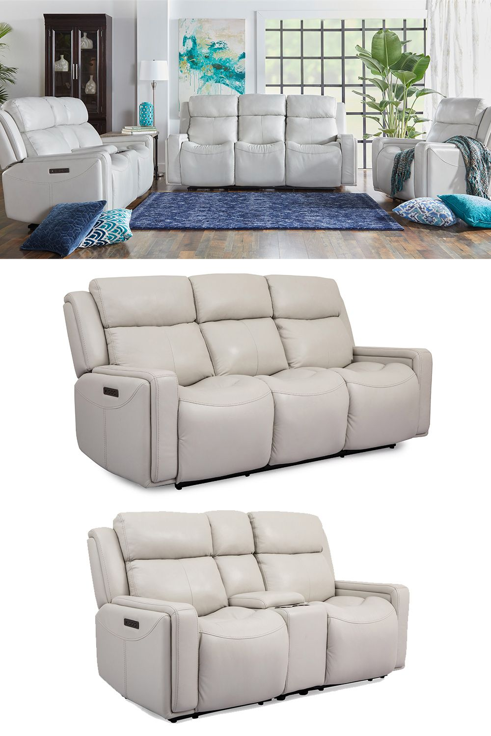 Leather Power Reclining Sofa With Power Headrest Adjustable Lumbar The Milan Leather Leather Power Reclining S Power Reclining Sofa Reclining Sofa Love Seat