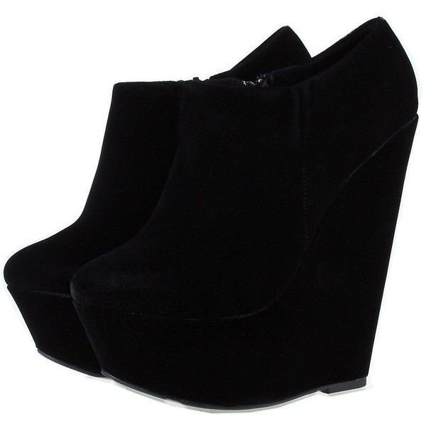 TRUFFLE Suedette Platform Wedge Ankle Shoe Boots Black (88 BRL) ❤ liked on Polyvore featuring shoes, boots, ankle booties, heels, wedges, sapatos, wedge booties, black booties, wedge heel boots and heeled booties