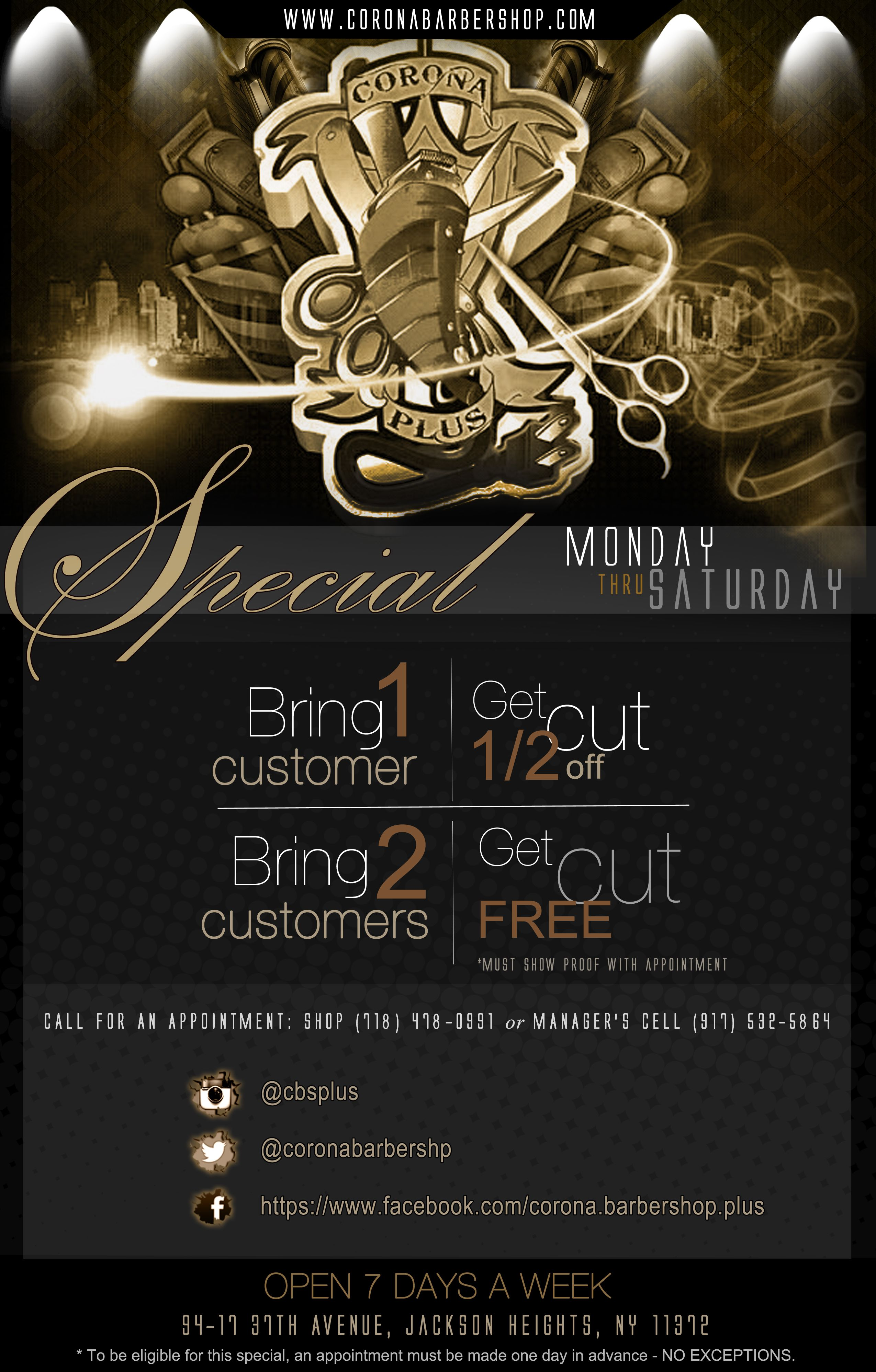 Coupon Flyer Design For Corona Barbershop Jackson Heights Nj