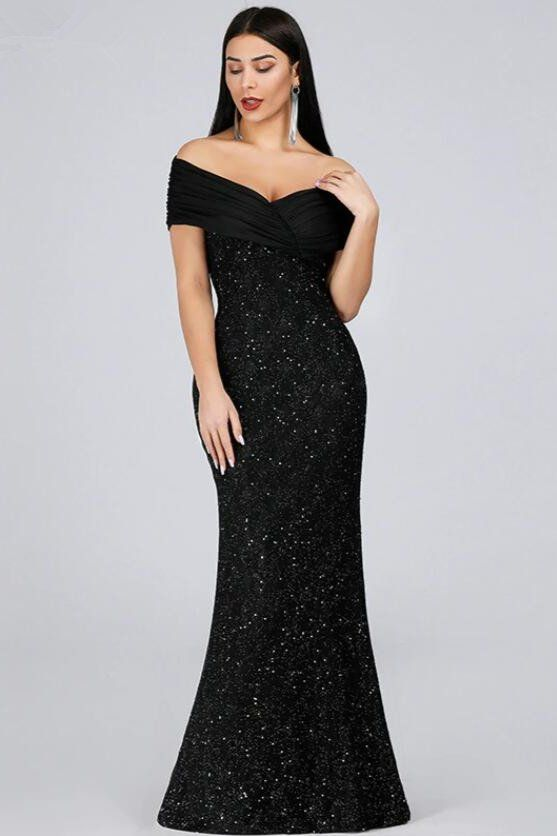 Photo of Sexy Off-the-Shoulder Black Evening Gowns Mermaid Sequins Pr…