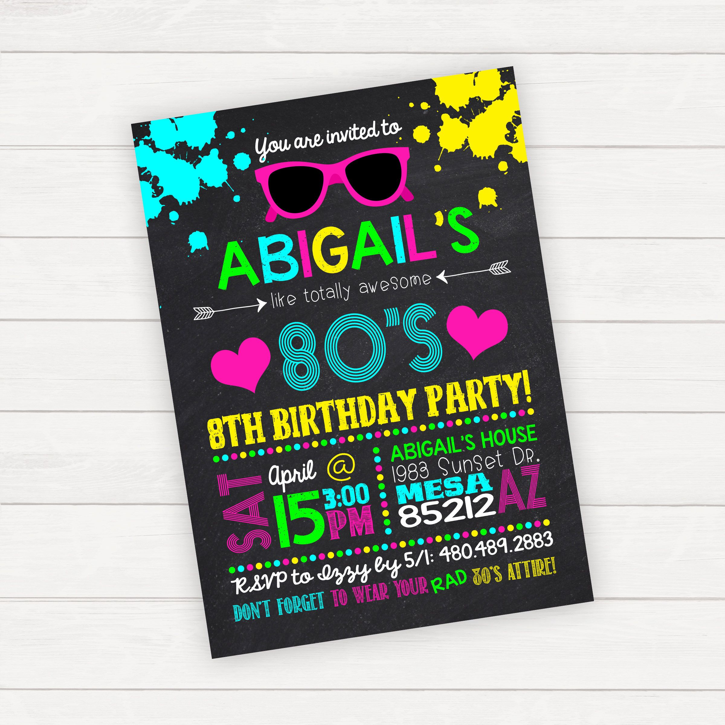 80s Birthday Invitations, 80\'s Birthday Invitations, 80s Birthday ...