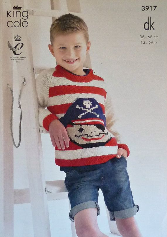 ae42a73f8 Boys Knitting Pattern K3917 Childrens   Babies Long Sleeve Round neck Jumper  with Pirate Design Pattern DK (Light Worsted) King Cole