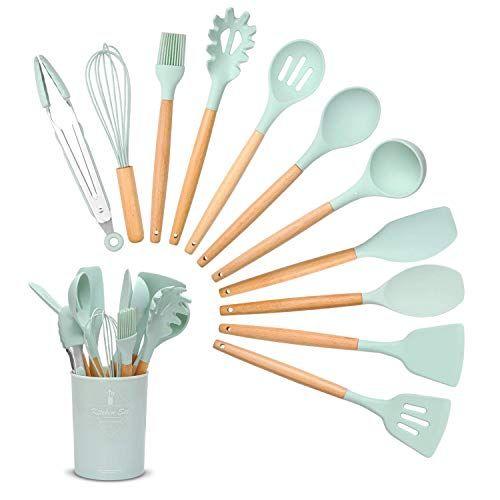 LANSONTECH Silicone Kitchen Utensil Set, 11 Piece Bamboo Wooden Handles Kitchen Gadgets,BPA Free Scratch…