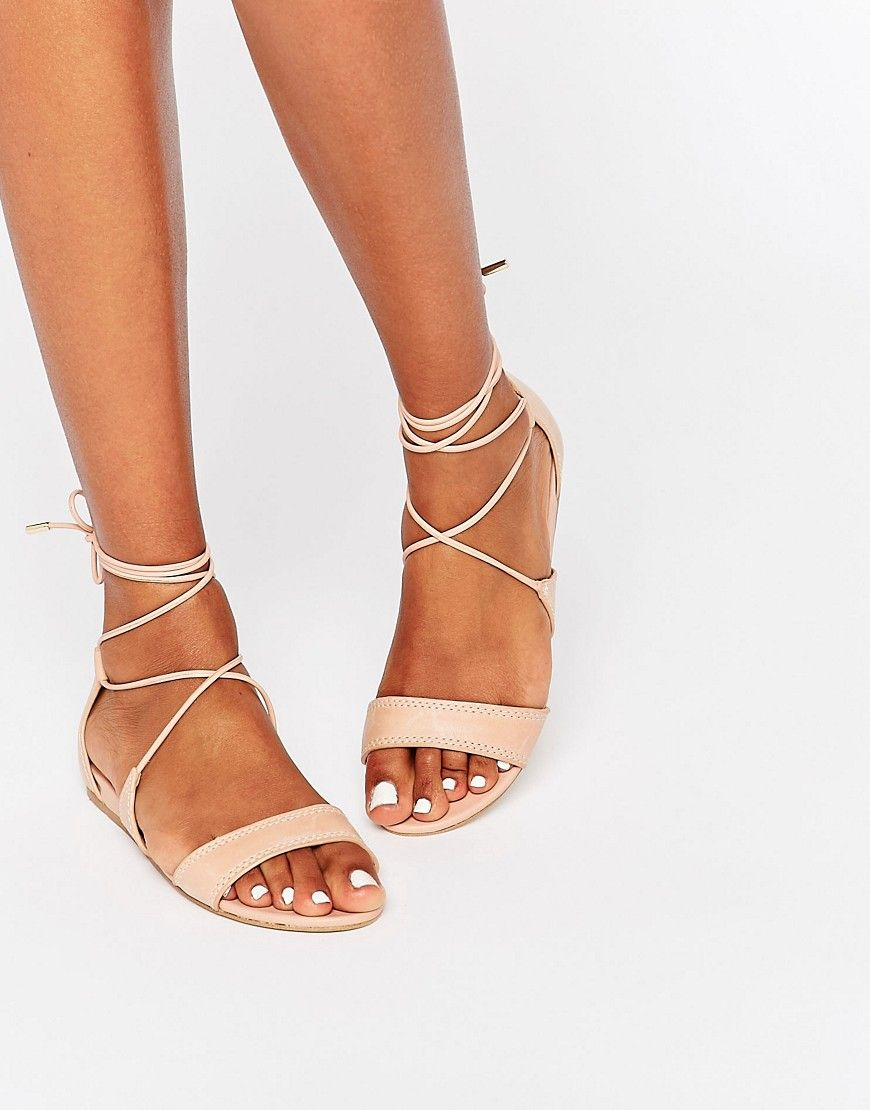 c63889bfbbf ASOS    ALDO Brena Nude Ghillie Leather Wedge Sandal  63