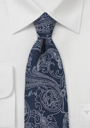 Krawatte dunkelblau Blumenmotiv