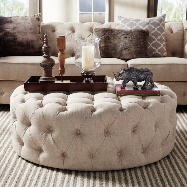 Knightsbridge Round Linen Tufted Tail Ottoman With Casters By Inspire Q