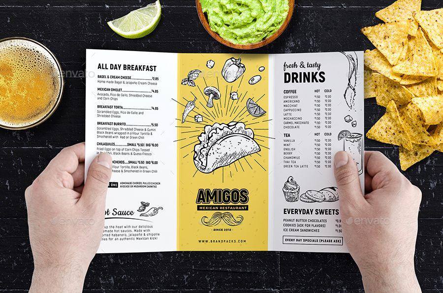 tri fold mexican menu template food menus menu template