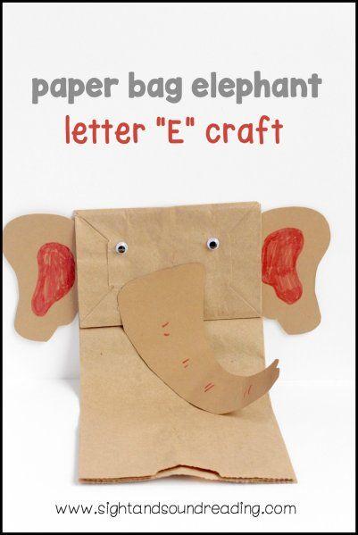 Letter E Craft: Paper Bag Elephant Puppet