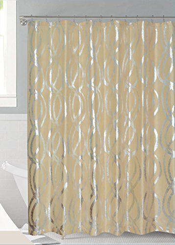 Pin On Shower Curtains White Gold Metallic