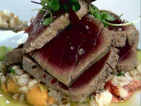 Bon apptit recipe box olive oil poached tuna with white bean and get olive oil poached tuna infused with thyme lemon and shallots recipe from food network forumfinder Choice Image