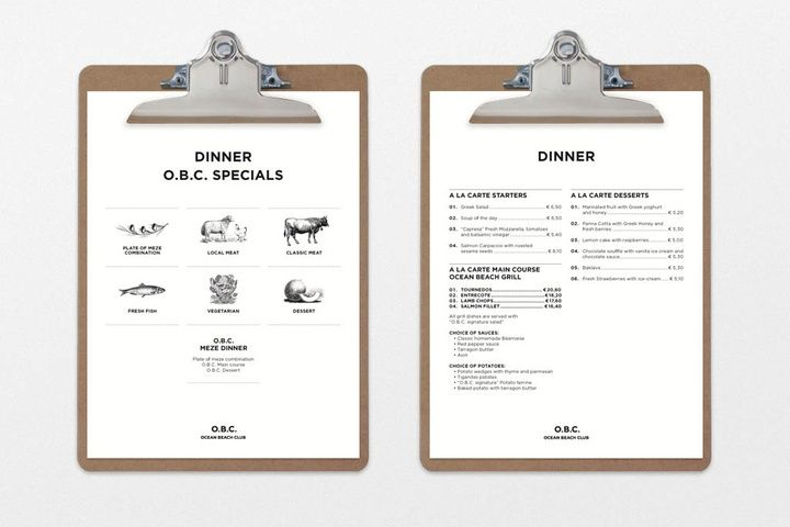 Neat menu made by BAS Brand Identity for Sunwing Resorts.