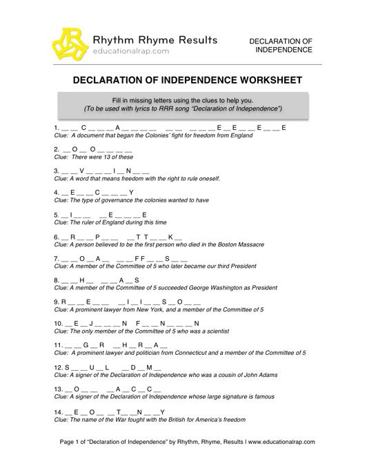 Declaration Of Independence Song With Free Worksheets And Activities Declaration Of Independence Independence Songs Teaching Constitution