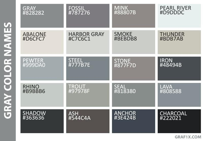 shades of grey color chart gray color names fifty shades ...