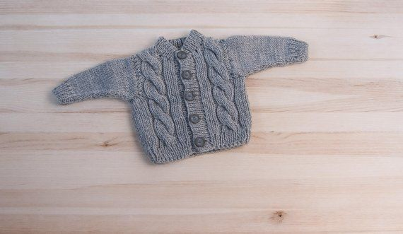 2efc2e86a Gray baby boy girl hand knitted kids newborn acrylic cardigan 6 12 ...