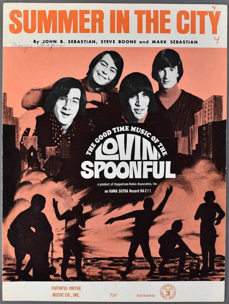 1966 Lovin Spoonful Sheet Music Summer In The City Sebastian Boone Sheet Music Sheet Music Book Music Book
