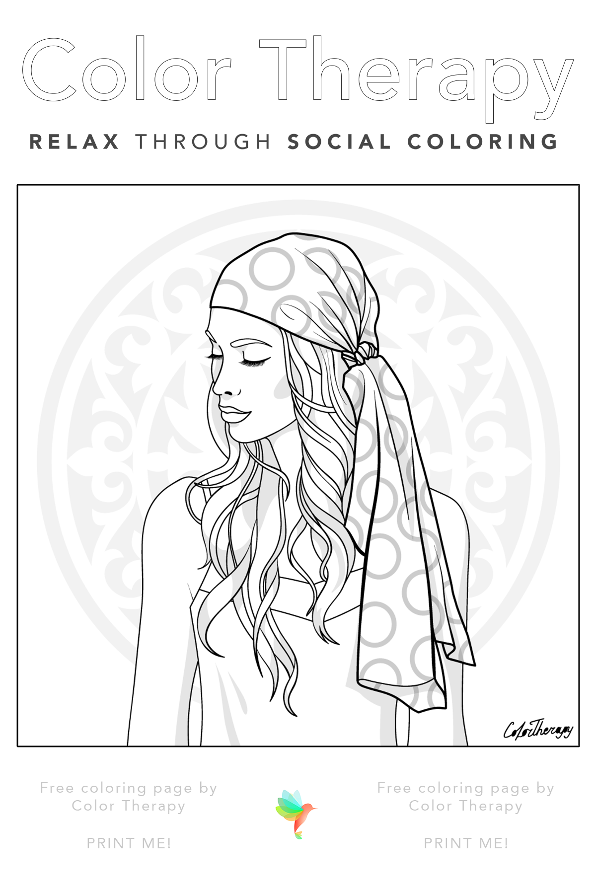 Color Therapy Gift Of The Day Free Coloring Page Coloring Pages Free Coloring Pages Angel Coloring Pages