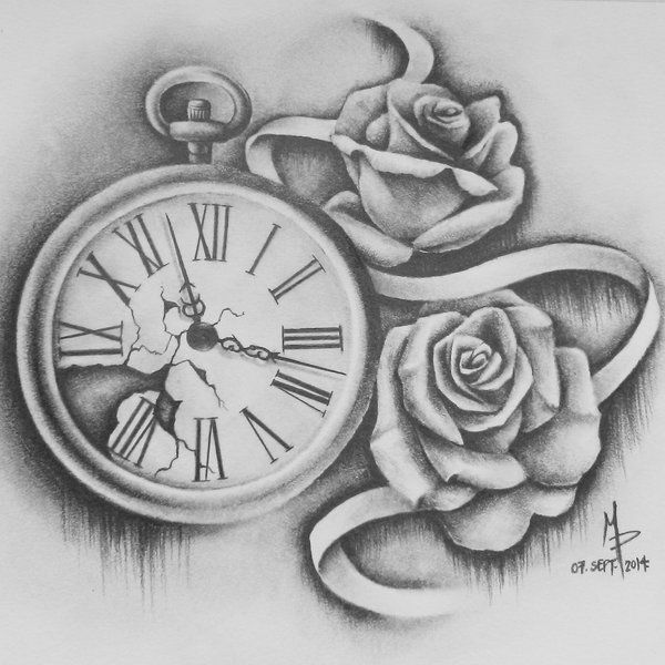Pocket watch tattoo sketch  Pocketwatch and Roses by mmpninja on DeviantArt | Things I'm Drawn ...