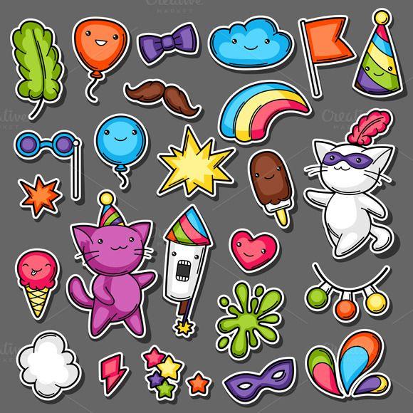 Carnival party kawaii sticker set  @creativework247