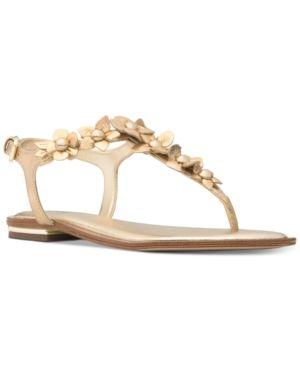 7edcd65238ac4 Michael Michael Kors Women s Tricia Flat Thong Sandals - Gold 9M Flip Flop  Sandals