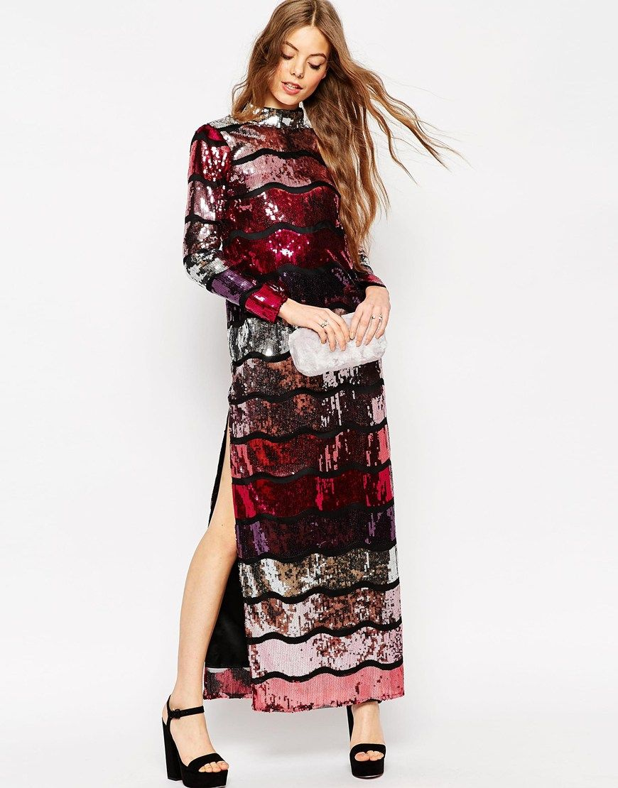 Image 4 of ASOS Long Sleeve Sequin Stripe Maxi Dress   My Style ...