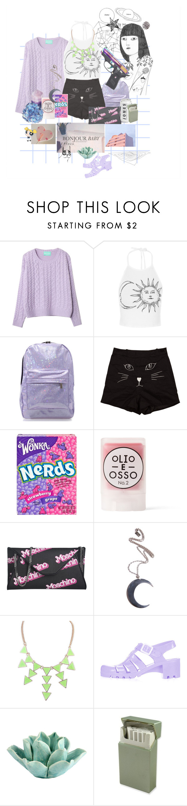 """""""Powerpuffer"""" by teodora-teddy ❤ liked on Polyvore featuring Chicnova Fashion, River Island, Olio E Osso, Moschino, Kill Star, Topshop, HomArt and House by John Lewis"""