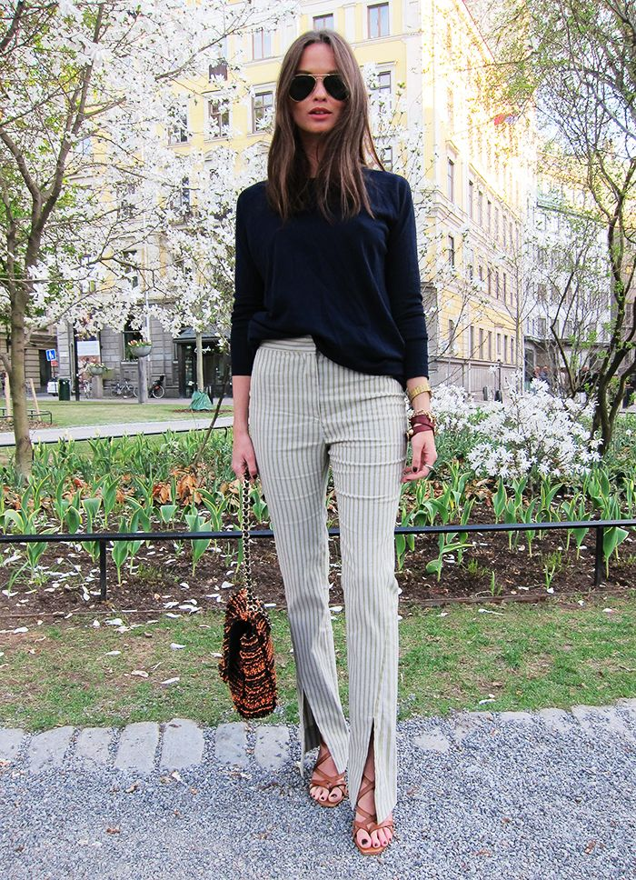 knit from Whyred, pants from Acne, sandals from Zara, sunnies from Ray Ban, bag from Mulberry.