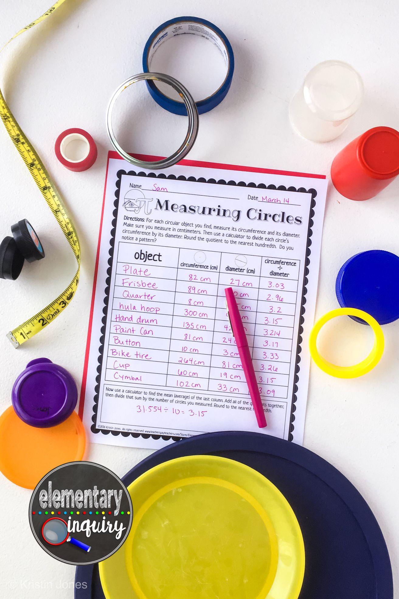 Measuring Circles Circumference And Diameter Pi Day