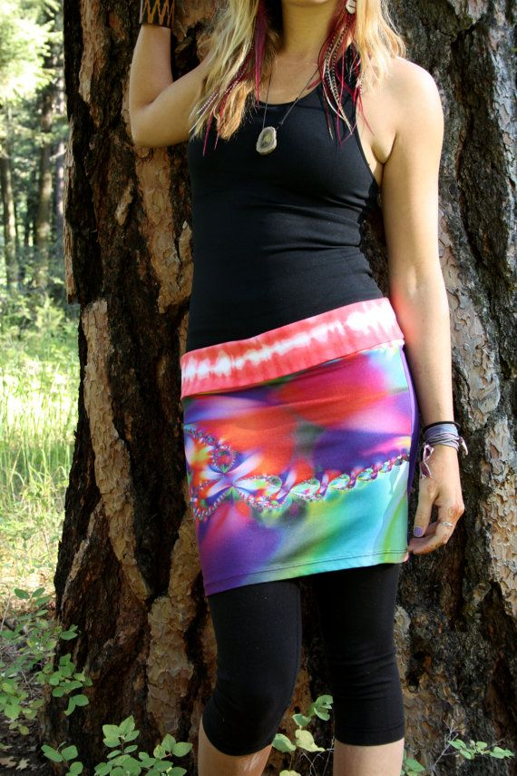 Psychedelic Trance - Eco/Upcycled Layering Mini Skirt - Size Small