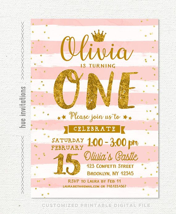 Pink Gold 1st Birthday Invitation For