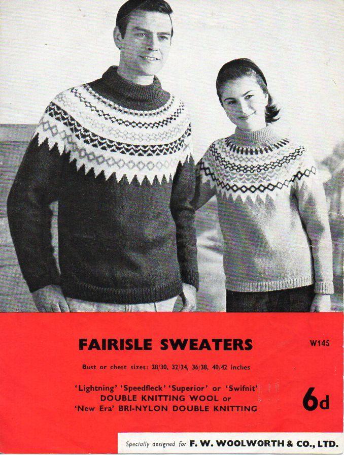 Vintage womens mens fair isle sweater knitting pattern PDF ladies ...