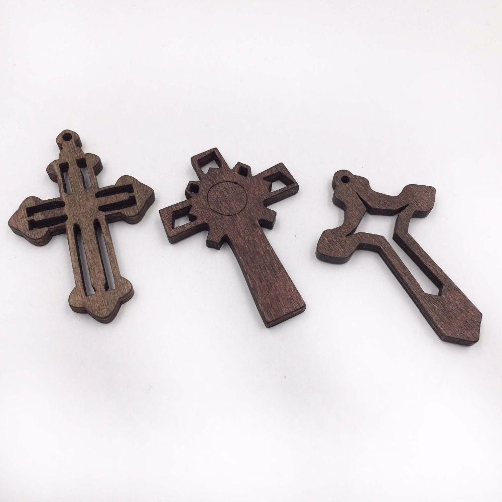 Wooden Cross Charm 30 Pcs New Style Necklace Pendant DIY Accessories  Unfinished Designs Jesus Wood Cross