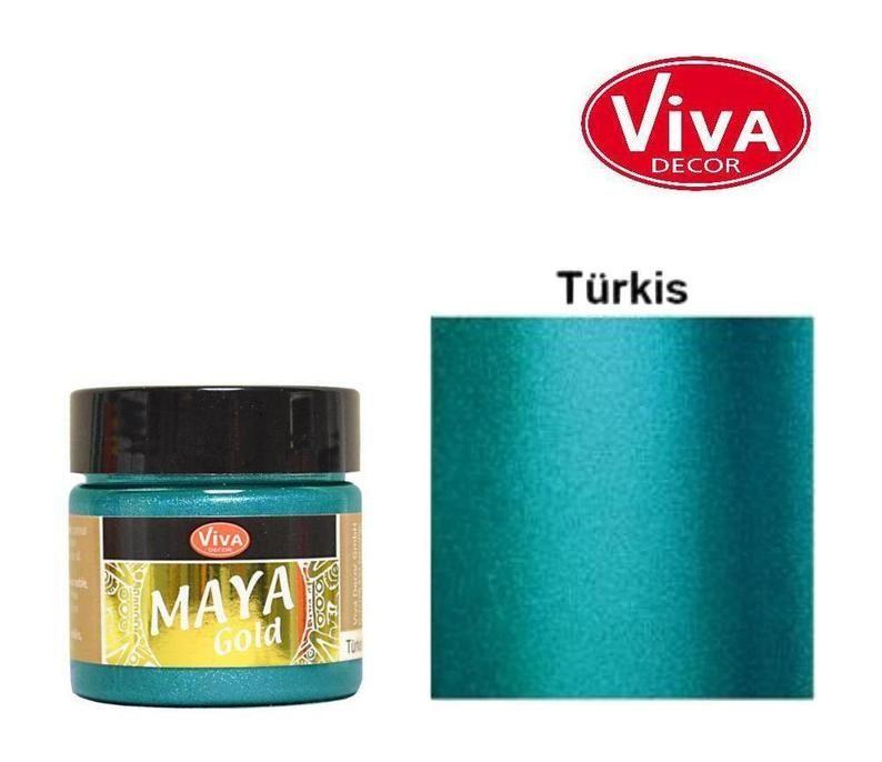 Turquoise Maya Gold Metallic Effect Colour By Viva Decor Maya
