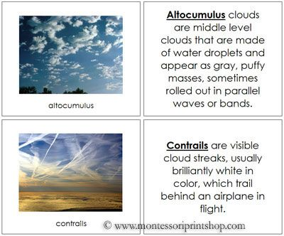 Types Of Clouds Book Montessori Science Cards Earth Science Activities Montessori Materials Weather Lessons