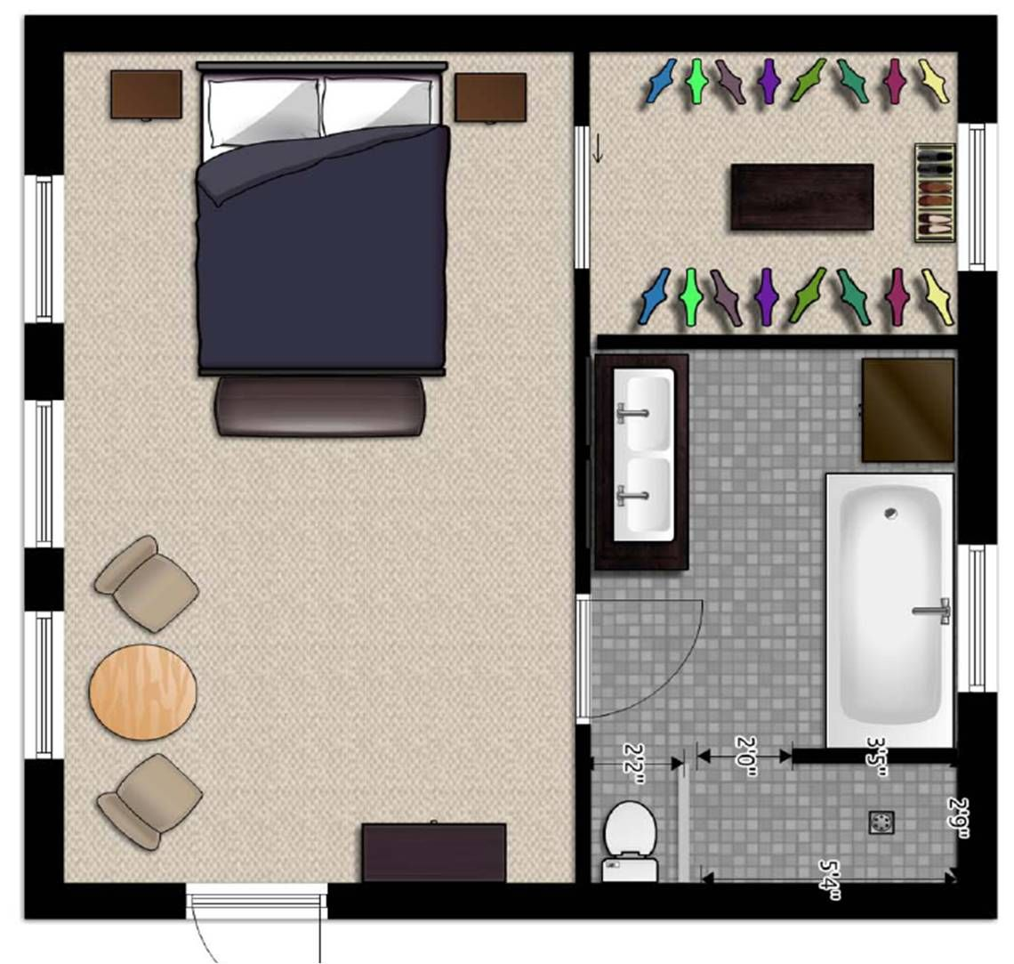 Master bedroom addition floor plans and here is the for Simple bathroom layout