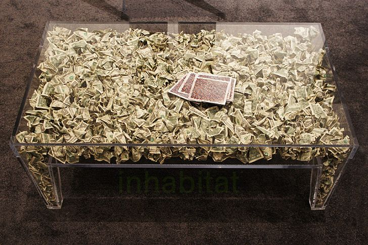 800 coffee table made of money my style pinterest. Black Bedroom Furniture Sets. Home Design Ideas