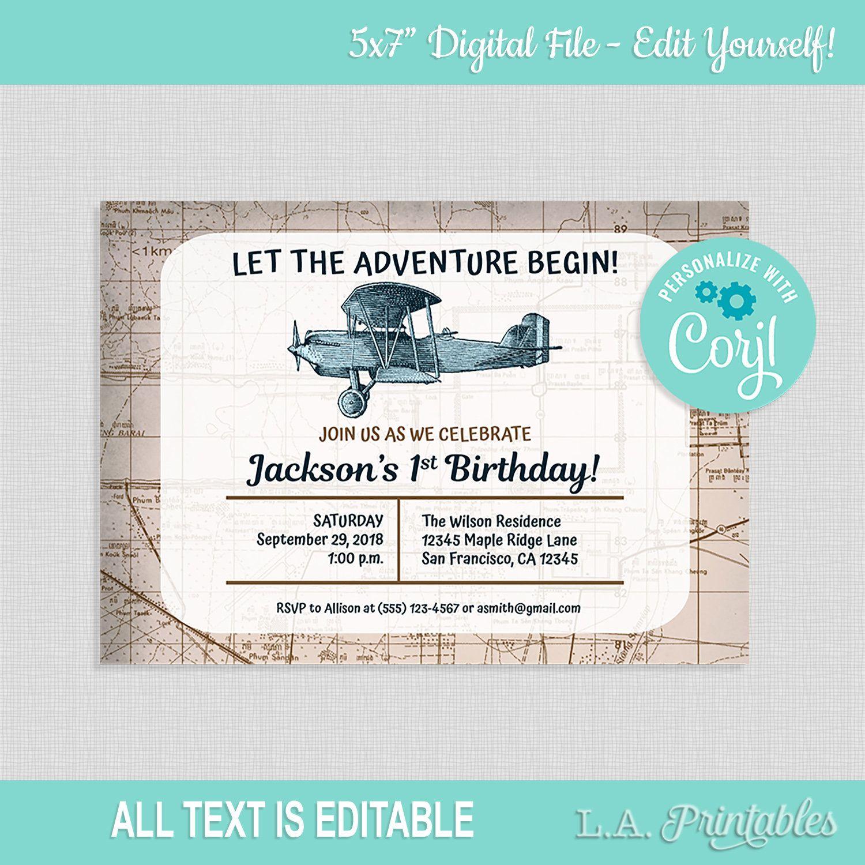 Editable Airplane Birthday Party Invitation Template Vintage Travel Invite Party Invite Template Airplane Birthday Party Birthday Party Invitation Templates