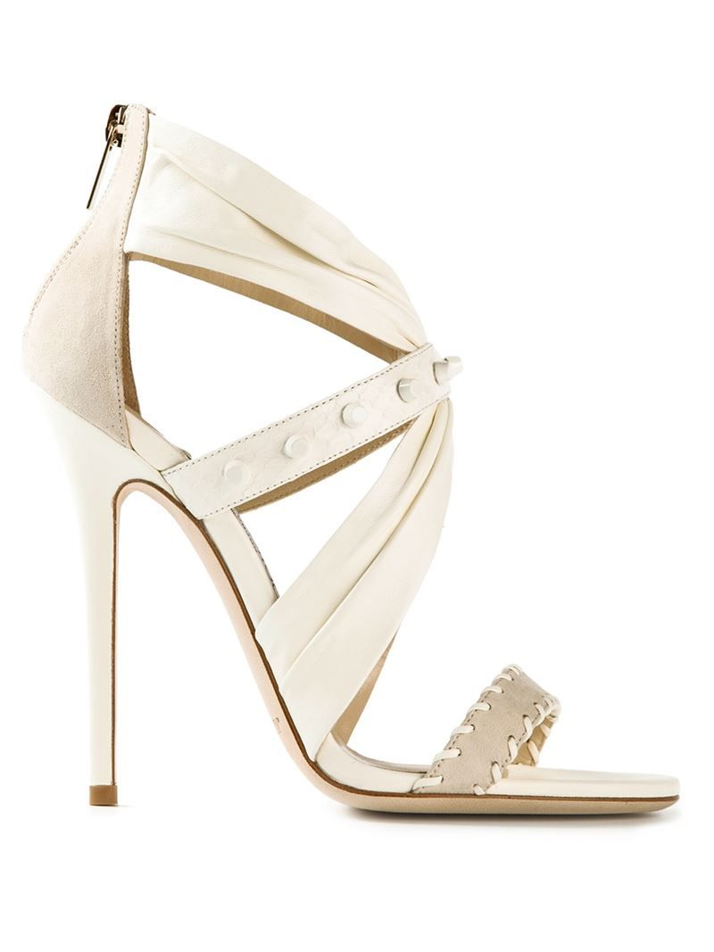 Jimmy Choo 'Lorelai' chalk white leather & suede sandals $837, available here: http://rstyle.me/~2bIyM
