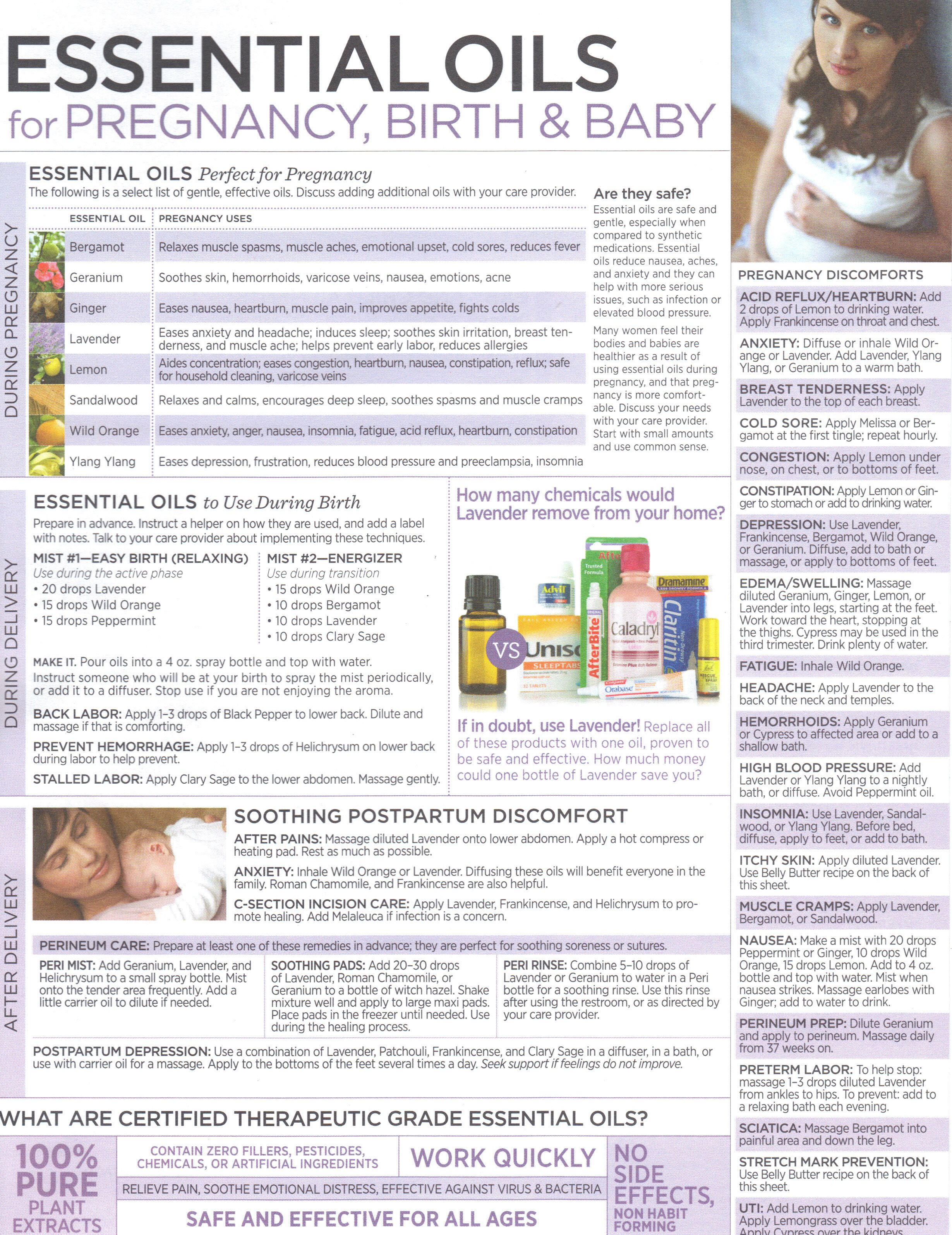 List of safe and gentle oils to use during and after pregnancy to help mom with symptoms during pregnancy, labor and postpartum. http://www.mydoterra.com/amandabradshaw/