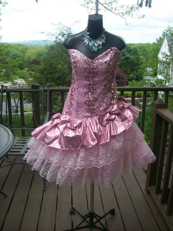 VINTAGE 80s RARE PINK FOIL PROM PARTY DRESS BEST IN SHOW L XL | Prom ...