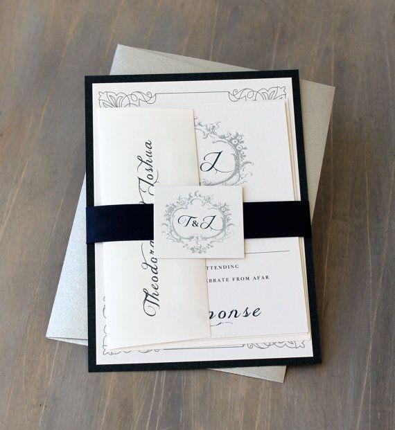 navy monogram wedding invitations modern wedding invitations