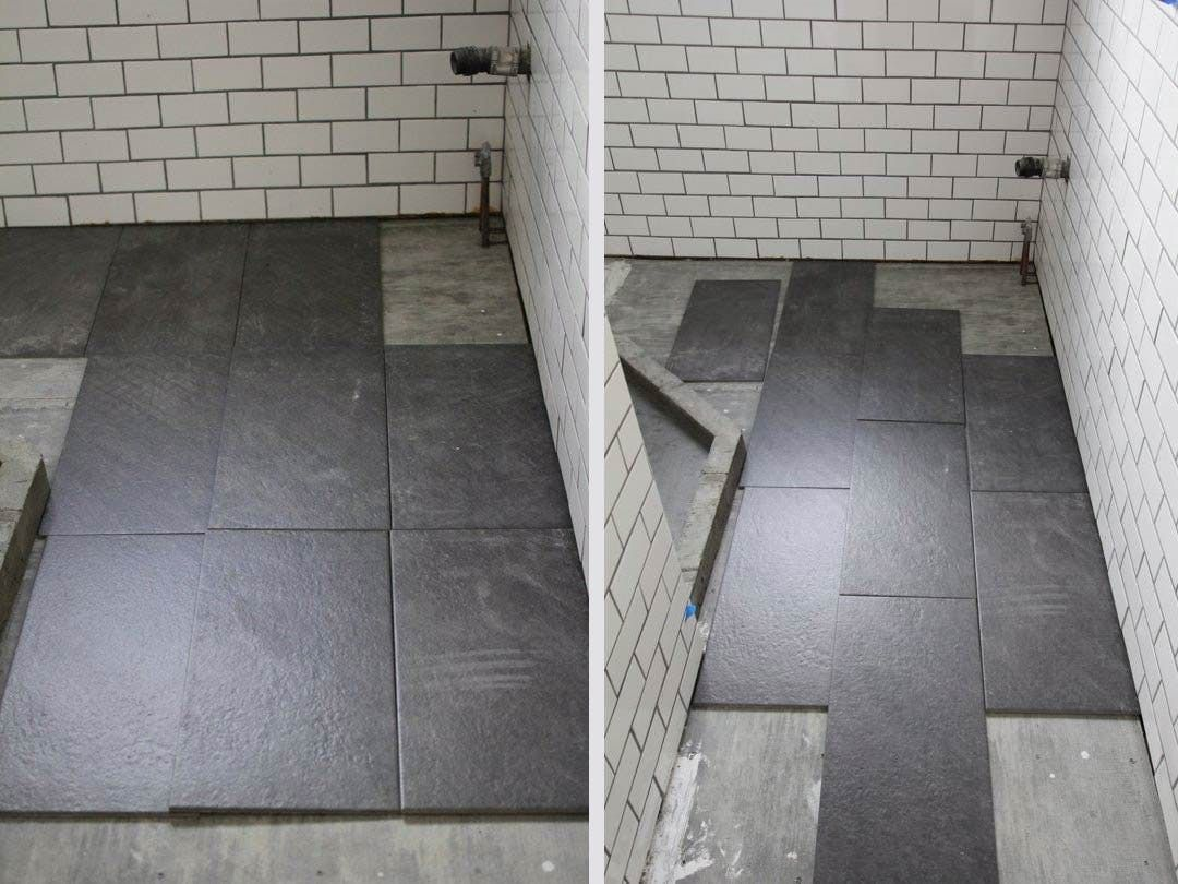 bathroom floor tile layout. What\u0027s The Best Tile Layout For My Bathroom?: Straight Or Staggered? Bathroom Floor A
