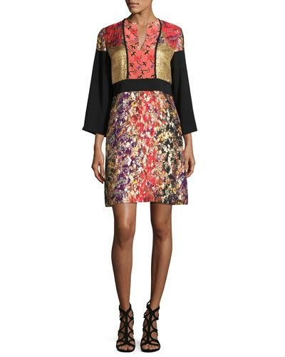 Printed 3/4-Sleeve Split-Neck Kimono Dress, Black/Pink