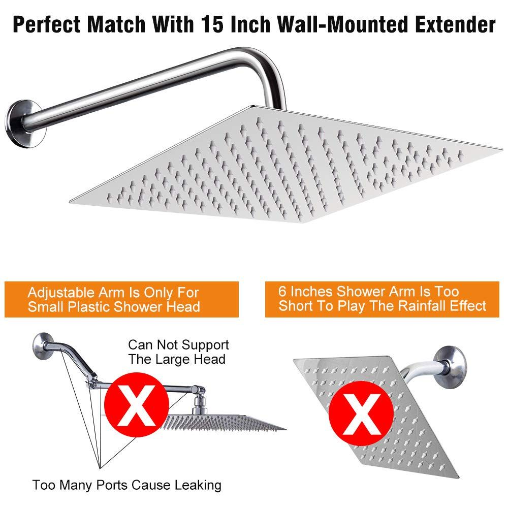 12 Inch Shower Head With 15 Inch Extension Arm Nearmoon Square Rain Shower Heads High Pressure Large Stainless Steel R Rain Shower Head Shower Heads Shower Arm