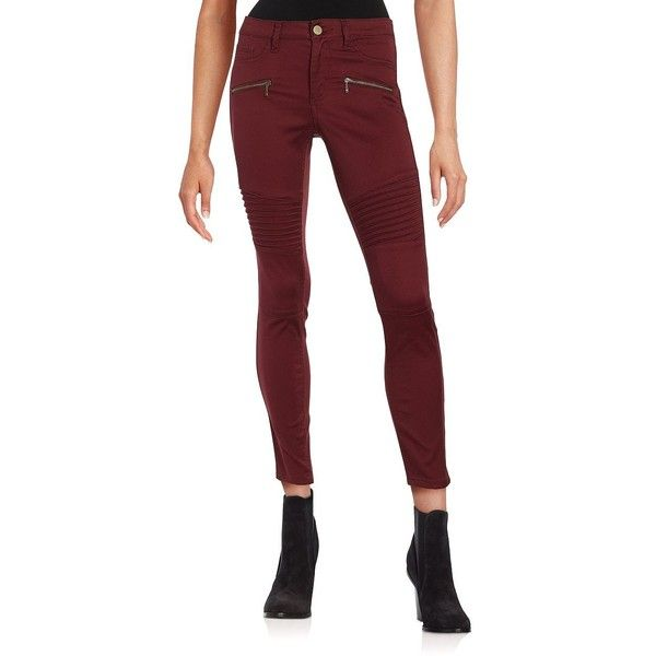 Design Lab Lord & Taylor Pintucked Motorcycle Skinny Pants ($35) ❤ liked on Polyvore featuring pants, wine, skinny pants, zipper skinny jeans, zipper pocket pants, skinny leg jeans and skinny fit jeans