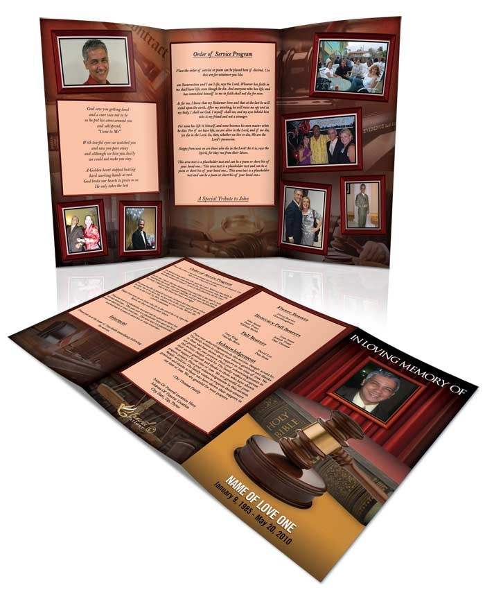 Obituary Template Judge  Tri Fold Brochure For More Funeral
