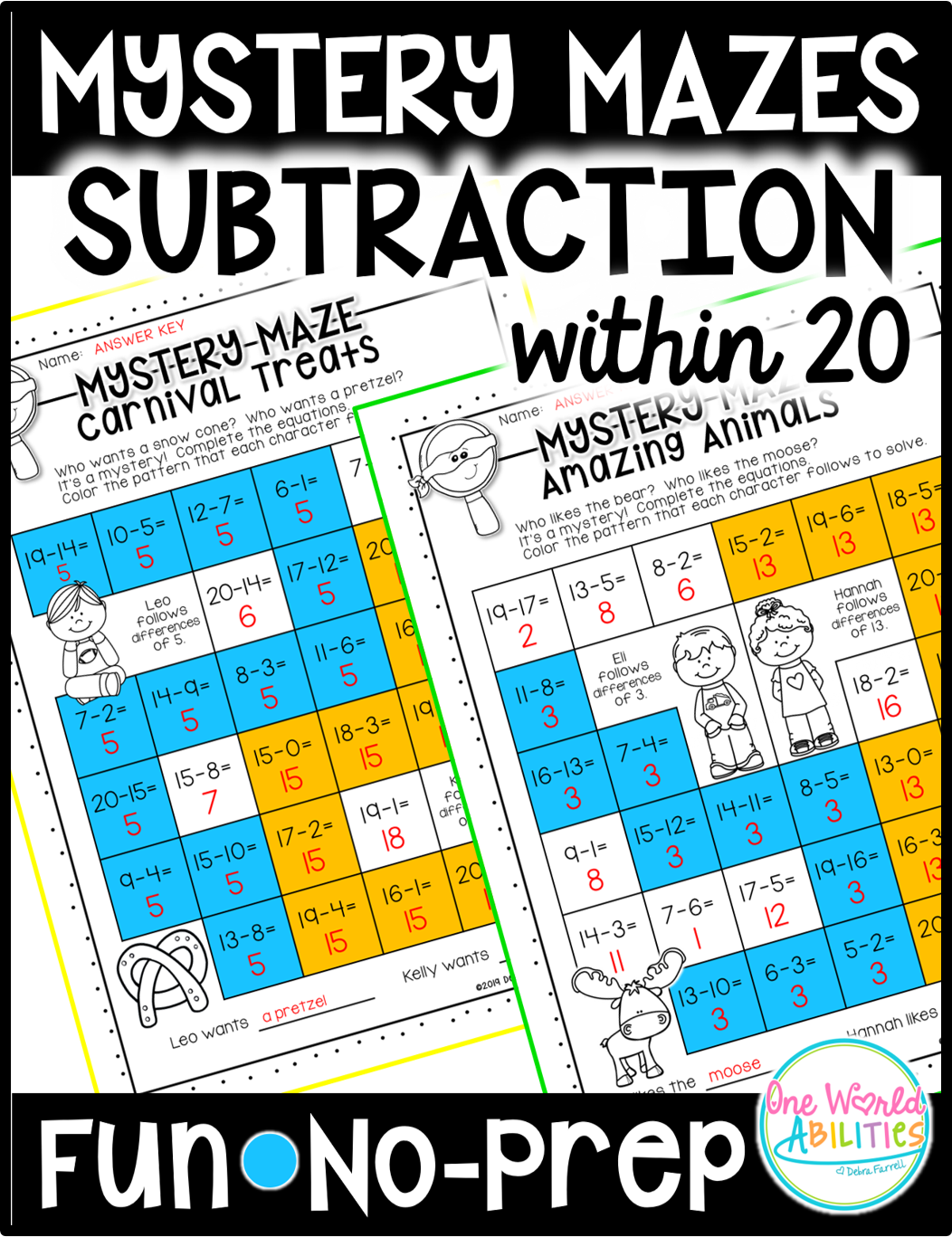 Mystery Math Mazes Subtraction Within 20 No Prep