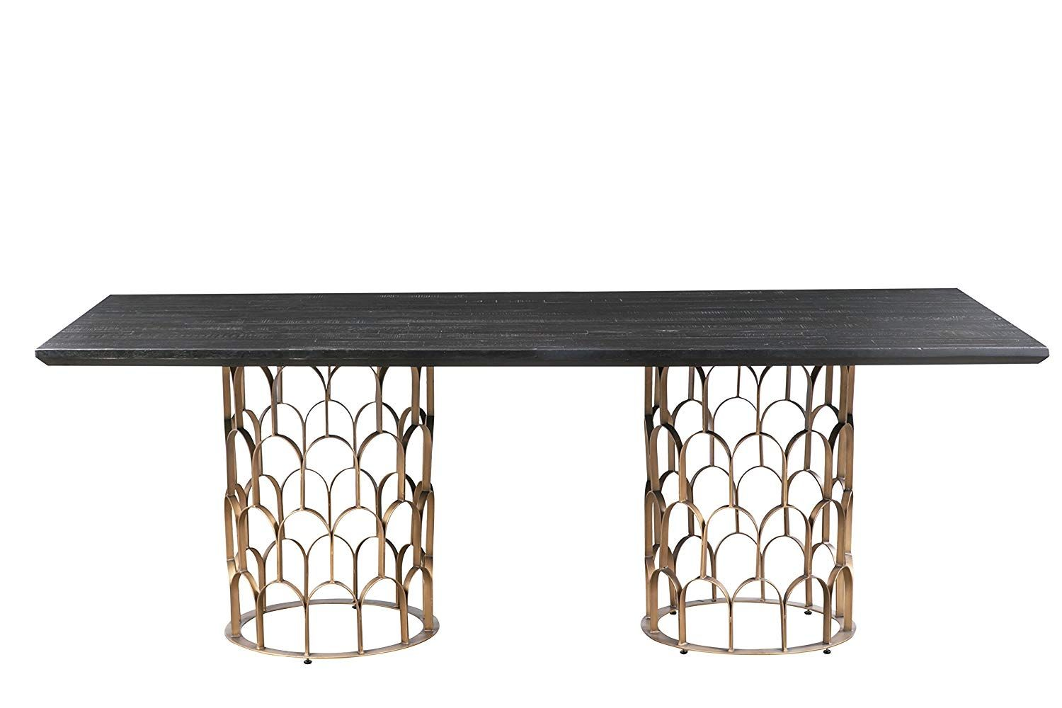 Tov Furniture Tov D7067 The Gatsby Collection Rustic Art Deco Rectangular Wood Dining Table Dark Dining Table Dining Table In Kitchen Concrete Dining Table