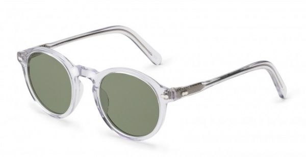 moscot miltzen sunglasses in clear acetate with green lenses